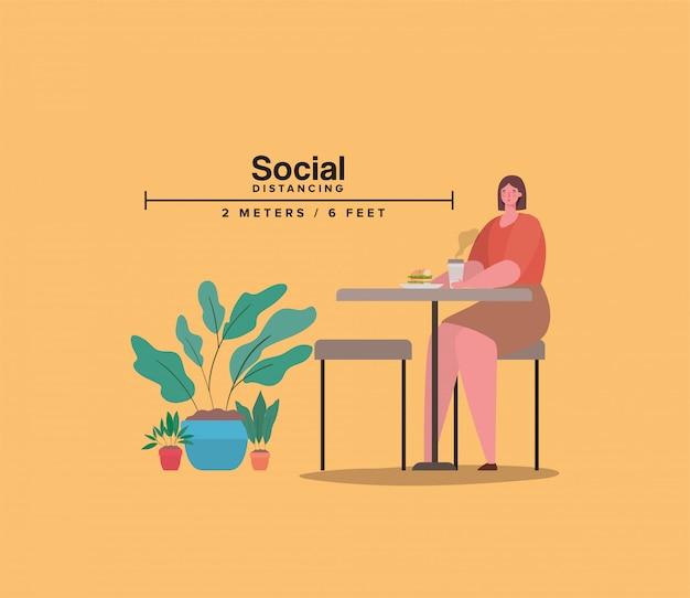 Ogólnospołeczny dystansowanie dziewczyny kreskówka przy stołem