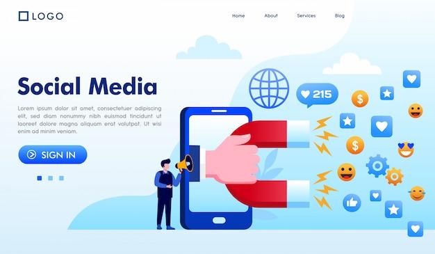 Ogólnospołeczny medialny lądowanie strony strony internetowej ilustraci wektor