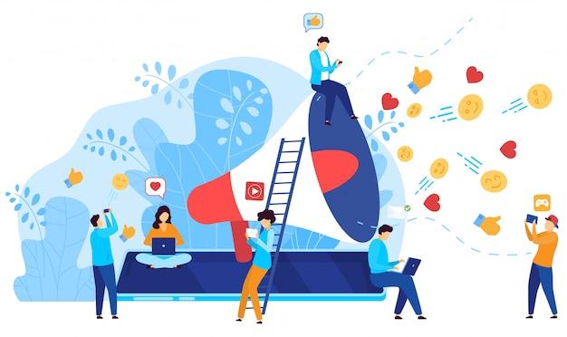 Ogólnospołeczny medialny marketingowy pojęcie, ludzie reaguje na influencer zawartość online, ilustracja