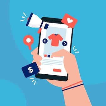 Ogólnospołeczny medialny marketingowy pojęcie z smartphone