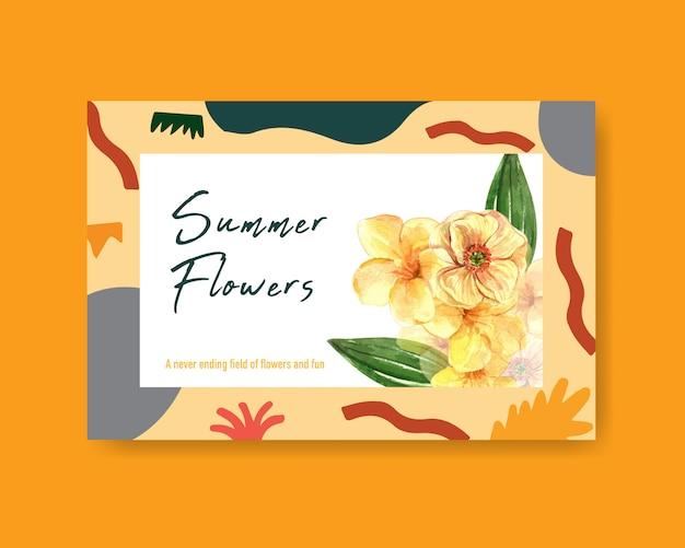 Ogólnospołeczny medialny szablon z lato kwiatu pojęcia projekta akwarelą