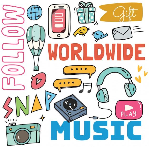 Ogólnospołeczny medialny tło w doodle stylowej ilustraci