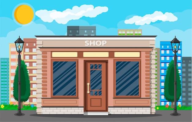 Ogólny wygląd zewnętrzny sklepu na ulicy miasta
