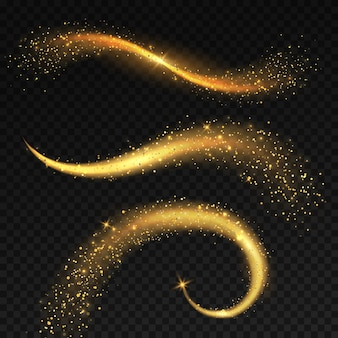 Ogony złote, jasne. magiczna wróżka gwiezdny pył z żółtymi iskierkami, bożonarodzeniowe błyszczące światło gwiazdy. lśniące komety i świąteczny ogon racy wirujący, świecący blask