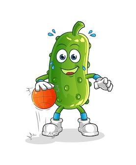 Ogórek drybluje postać koszykówki. kreskówka maskotka