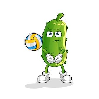 Ogórek gra w siatkówkę maskotka. kreskówka