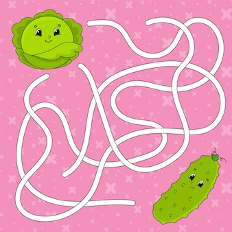 Ogórek warzywny, kapusta. labirynt. gra dla dzieci.