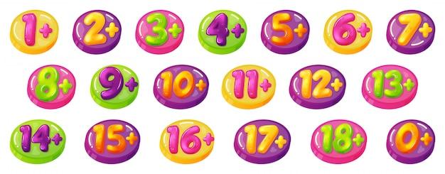 Ograniczenia wiekowe dzieci. znaki ograniczenia wieku dla dzieci, liczby, plakietki zezwalające na zawartość gier lub filmów. limit wieku dziecko znaczki zestaw ikon ilustracja. zakaz ograniczenia dzieci, wiek plus odznaka