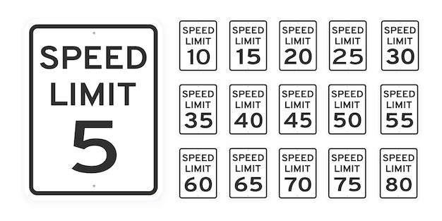 Ograniczenie prędkości ruch drogowy ikona znaki ustawić płaski projekt wektor ilustracja na białym tle
