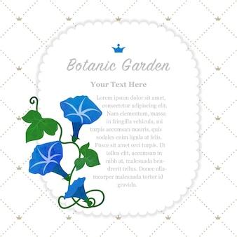 Ogród botaniczny ramka niebieski powój
