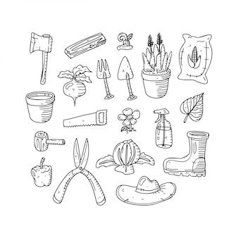 Ogród doodle styl wyciągnąć rękę