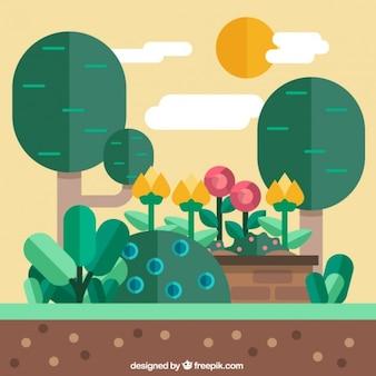 Ogród krajobraz płaska