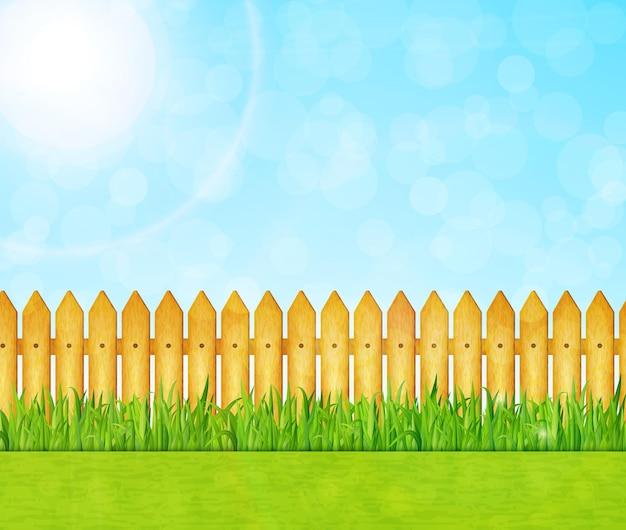 Ogród z ilustracją zielonej trawy