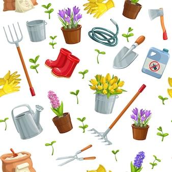 Ogrodnictwo bez szwu wzór ogrodnictwo z narzędziami, kwiatami, kaloszami, sadzonkami, tulipanami, puszką ogrodniczą lub nawozem, rękawicą, krokusami itp.