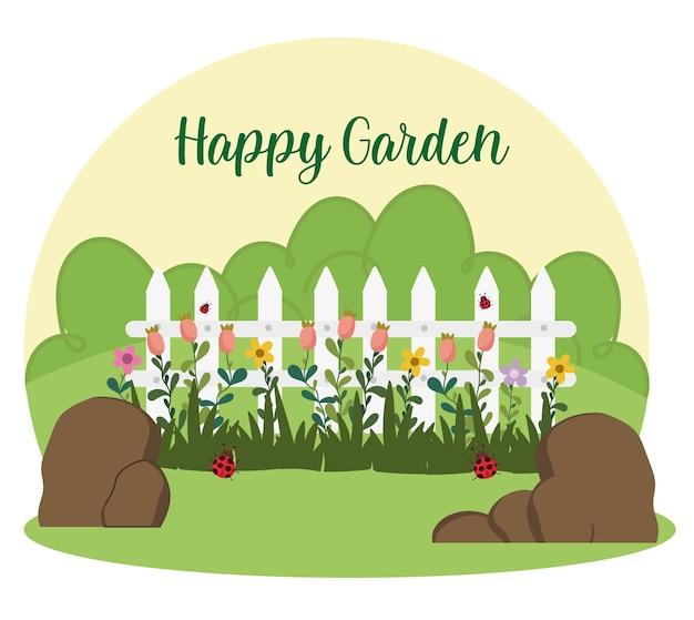 Ogrodnictwo białe kwiaty ogrodzenia trawa kamienie i ilustracja biedronki