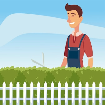 Ogrodnictwo, człowiek przycinający krzew lub drzewo z dużą ilustracją maszynki do strzyżenia