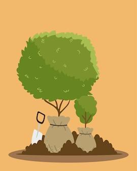 Ogrodnictwo, drzewa i rośliny w workach do sadzenia z ilustracją narzędzia kielni