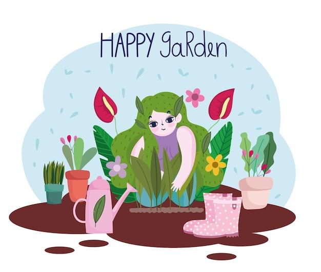 Ogrodnictwo, dziewczyna sadzenie gleby rośliny kwiaty buty konewka ilustracja narzędzia