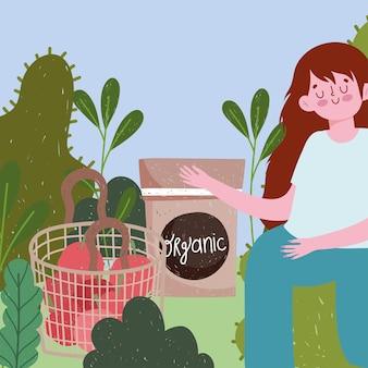 Ogrodnictwo, dziewczyna z pomidorami pakuje nasiona i ilustrację liści ogrodowych