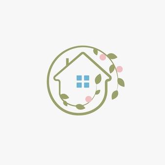 Ogrodnictwo eleganckie logo projektowanie krajobrazu logotyp chalet abstrakcyjna ikona liście i owoce wokół domu
