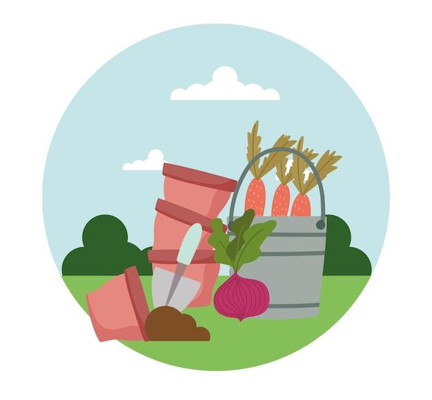 Ogrodnictwo i ogrodnictwo marchew i buraki garnki wiadro i łopata w ilustracji trawy