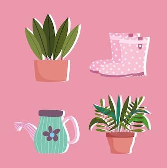Ogrodnictwo, kalosze podlewanie roślin kandyzowanych w ikonach dekoracji doniczek