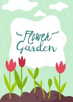 Ogrodnictwo kreskówka pionowa karta