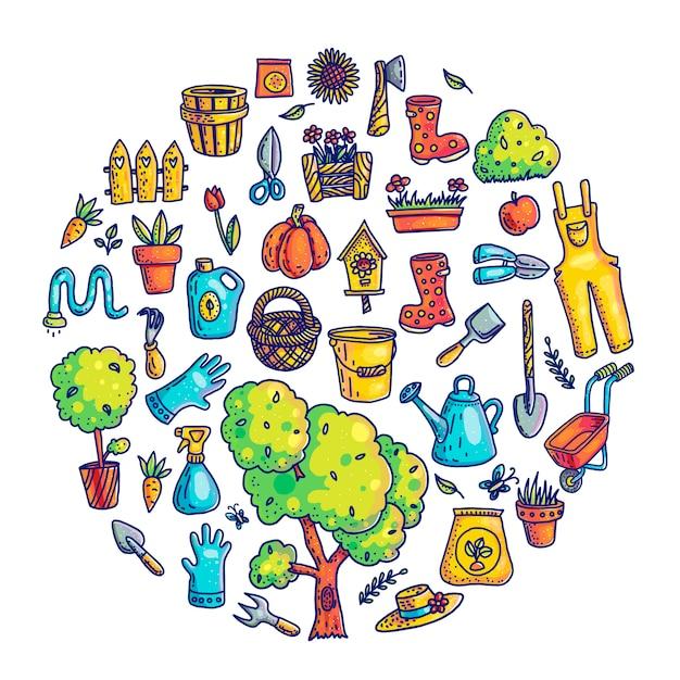 Ogrodnictwo ręcznie rysowane ilustracje zestaw