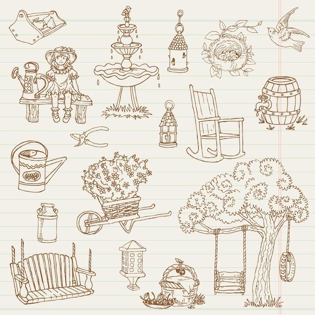 Ogrodnictwo ręcznie rysowane ilustracji doodles