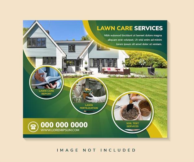 Ogrodnictwo usługi pielęgnacji trawników szablon postów w mediach społecznościowych usługa pielęgnacji trawników z poziomym banerem