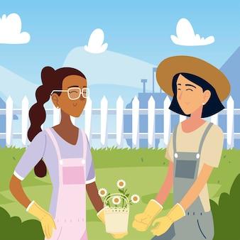 Ogrodnictwo, uśmiechnięte kobiety z kwiatami na ilustracji podwórku
