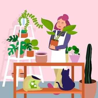 Ogrodnictwo w domu ilustrowany projekt