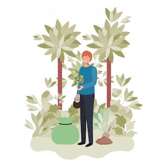 Ogrodnicy człowieka z drzewem avatar charakter