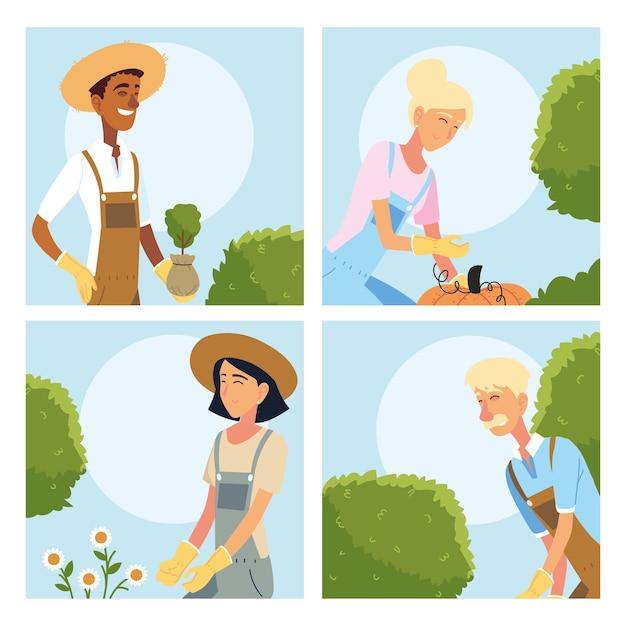 Ogrodnicy, kobiety i mężczyźni, bajki z projektowaniem roślin, ogrodnictwo, sadzenie w ogrodzie i przyroda