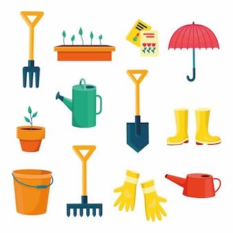 Ogrodnicy sprzęt zestaw obiektów potrzebnych do ogrodnictwa i rolnictwa na białym tle ilustracje