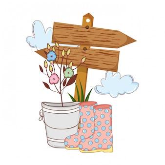 Ogrodnik buty gumowe z kwiatami i strzałami