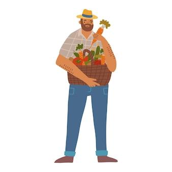 Ogrodnik mężczyzna w kapeluszu trzymający pełny kosz warzyw ręcznie rysowane płaski ilustracja szczęśliwy rolnik i ...