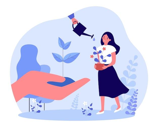 Ogrodnik pielęgnuje roślinę z troską. drobna kobieta trzyma kwiat doniczkowy, ręka z sadzonką drzewa płaskie wektor ilustracja. ekologia, nowa koncepcja życia dla banera, projektu strony internetowej lub strony docelowej