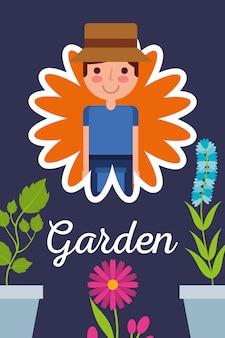 Ogrodnik w kwiat doniczkowy rośliny koncepcja ogród