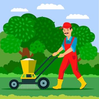 Ogrodnik z ilustracją rozsiewacza nawozów