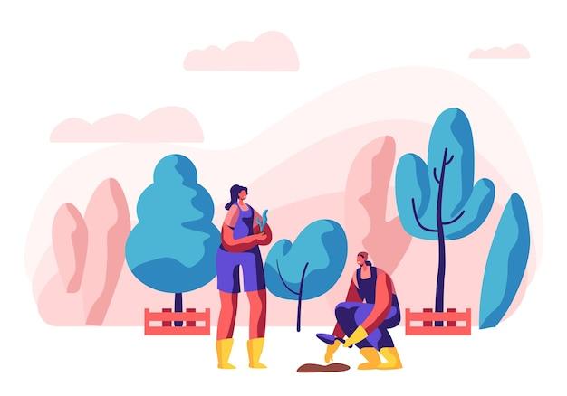 Ogrodnik żeński charakter w pracy. kobieta pracująca w ogrodzie, rosnące drzewa i rośliny z narzędziami.