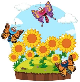 Ogrodowa scena z motylami w słonecznika ogródzie