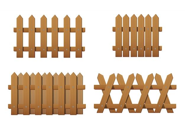 Ogrodzenia drewniane różnego rodzaju. zestaw ogrodzeń ogrodowych na białym tle