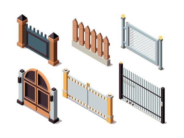 Ogrodzenia izometryczne. elementy domu mieszkalnego zabezpieczają bariery ogrodzenia metalowe i drewniane drzwi panele ochronne. granica ogrodzenia, ilustracja separacji bariery