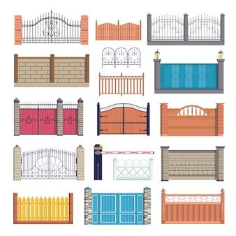 Ogrodzenie, bramy zestaw ilustracji na białym tle. mur z cegły drewnianej, metalowej, kamiennej, bariery. elementy architektury ogrodzenia zewnętrznego z kutego metalu, żywopłoty murowane z furtkami.