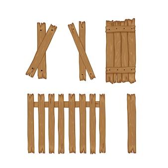 Ogrodzenie drewniane deski na białym tle do budowy i. styl kreskówki. ilustracja.