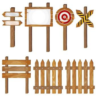 Ogrodzenie, drewniane szyldy, znak strzałki, tarcza docelowa. wektor zestaw.