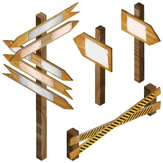 Ogrodzenie, drewniane szyldy, znak strzałki. wektor zestaw.