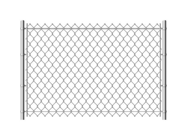 Ogrodzenie ogniwa łańcucha. realistyczne ogrodzenia z siatki metalowej