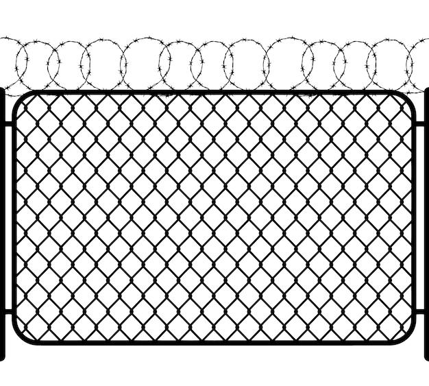 Ogrodzenie ogniwa łańcucha z drutem kolczastym, czarna bezszwowa sylwetka na bielu
